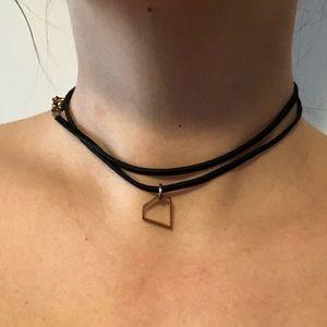 Jewelry - Leather Wrap Around Choker with Diamond Charm